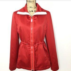 St. John Sport Red Silky Drawstring Zip Up Jacket